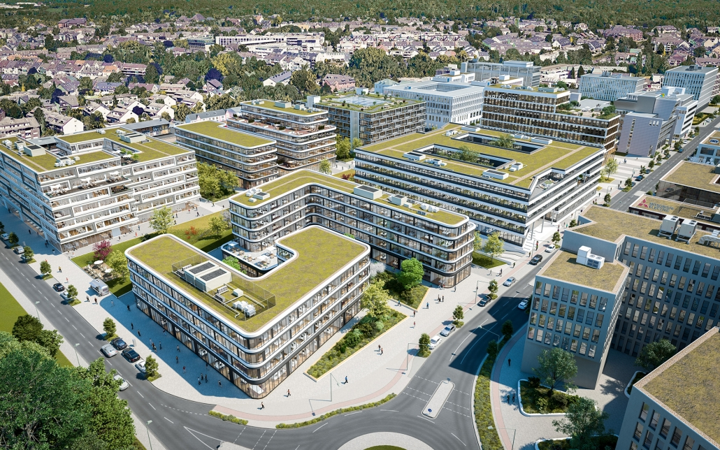 Vogelperspektive Schwarzbach Quartier, ein Bild der Cube Real Estate