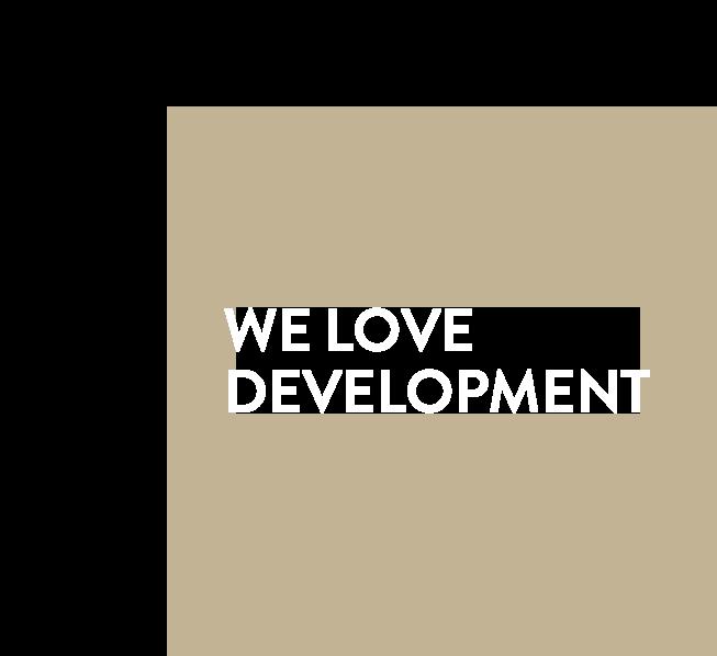 Ein goldener Rahmen mit Text, Titelgrafik der Cube Real Estate - We Love Development