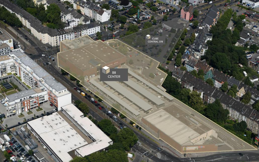 Cube Real Estate, Vogelperspektive auf das B8 Center in Düsseldorf